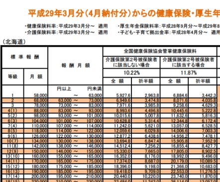 平成29年3月分(4月納付分)からの健康保険等の画像
