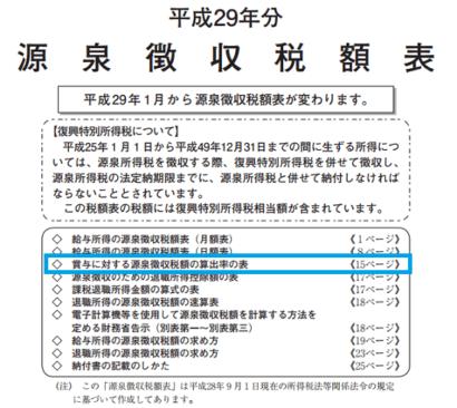 平成29年分-源泉徴収税額表の表紙の画像