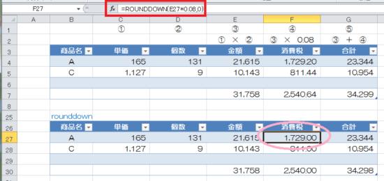 端数処理_rounddown