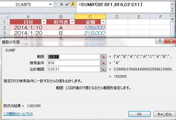 ExcelのSUMIF関数の条件で「以上...