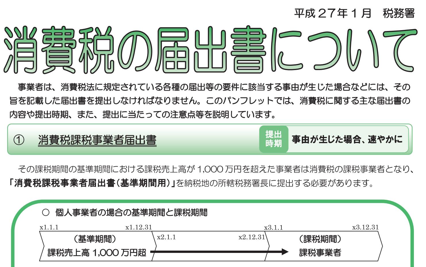 国税庁_消費税の届出書についての画像
