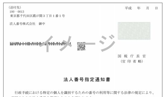 法人番号指定通知書のイメージ