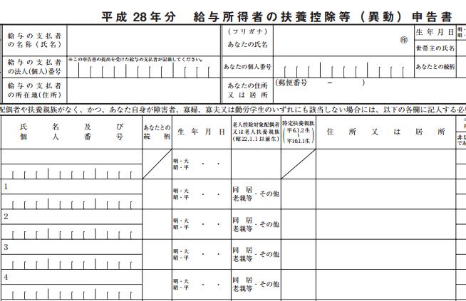 平成28年分_給与所得者の扶養控除等(異動)申告書の画像の一部