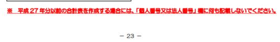 平成27年分_法定調書合計表_手引きの注意書きの画像