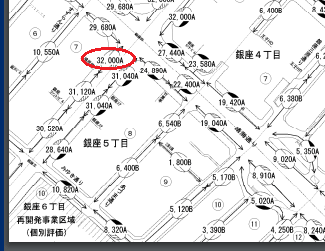 平成28年分_中央区_路線価図の一部