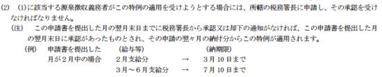 h29_源泉所得税納期の特例_提出と納期限についての画像