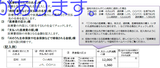 h29_医療費控除に関する明細書イメージ_従来の医療費控除の記載例の画像