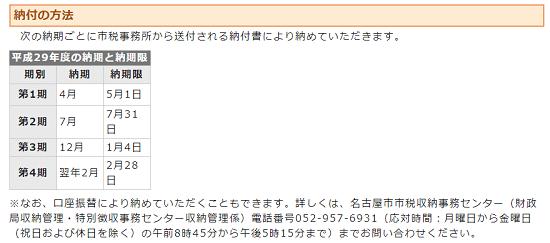 h29_固定資産税の納期_名古屋市の画像