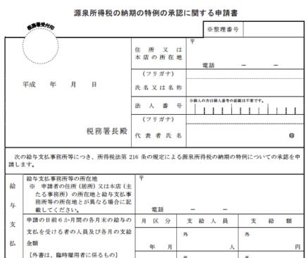 h29_個人事業主開業時届出申請_源泉所得税納期特例申請の画像