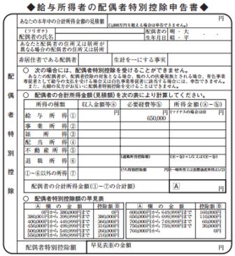 平成29年分-配偶者の合計所得金額(見積額)の計算表の画像