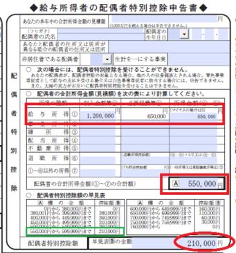 平成29年分-配偶者の合計所得金額(見積額)の計算例3の画像