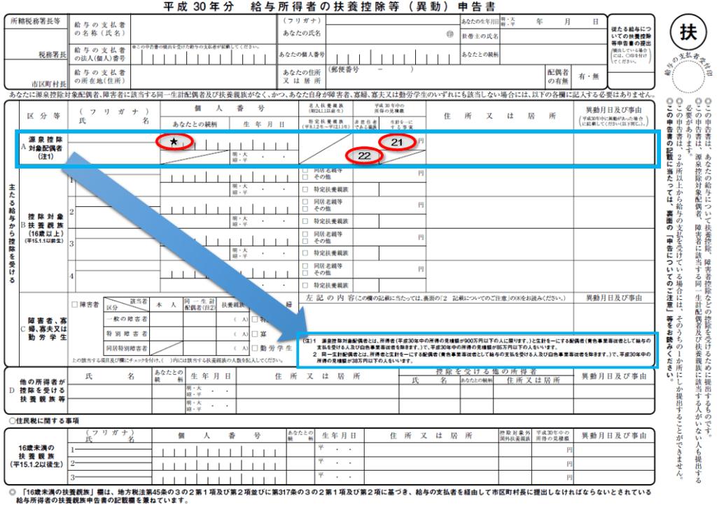 平成30年分-扶養控除等申告書の書き方814