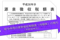 源泉徴収税額表(月額表)の見方(平成30年分)
