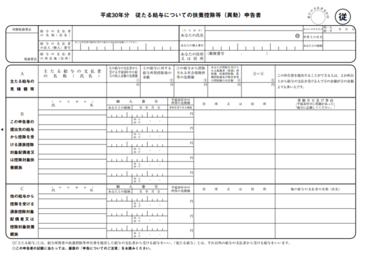 従 たる 給与 について の 扶養 控除 等 申告 書 の 提出