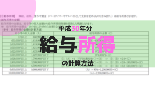 給与所得の計算方法【平成30年分】