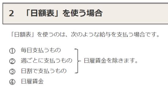 h31(2019)-給与所得の源泉徴収税額表-日額表を使う場合