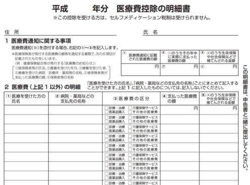 平成30年-医療費控除の明細書の画像