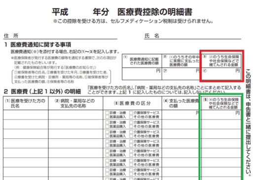 平成30年-医療費控除の明細書の補填の画像