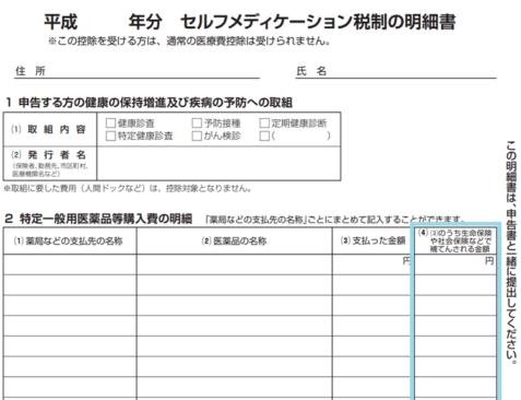 平成30年-セルフメディケーション税制の明細書の補填欄