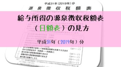 平成31年(2019年)-源泉徴収税額表の見方(日額表)-アイキャッチ