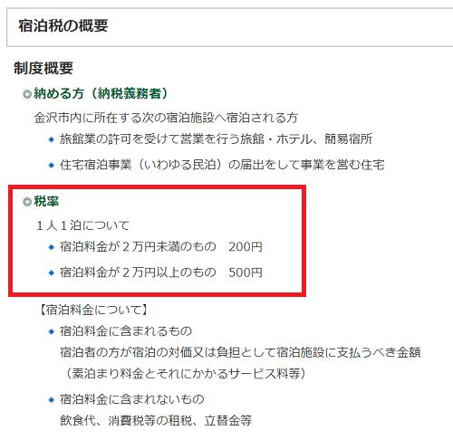 金沢市の宿泊税の税率