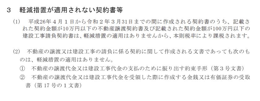 印紙税の手引(令和元年6月)-軽減措置が適用されない契約書等