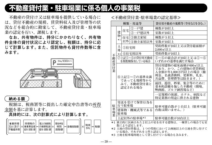令和元年度版-東京都主税局-不動産貸付業・駐車場業に係る個人の事業税
