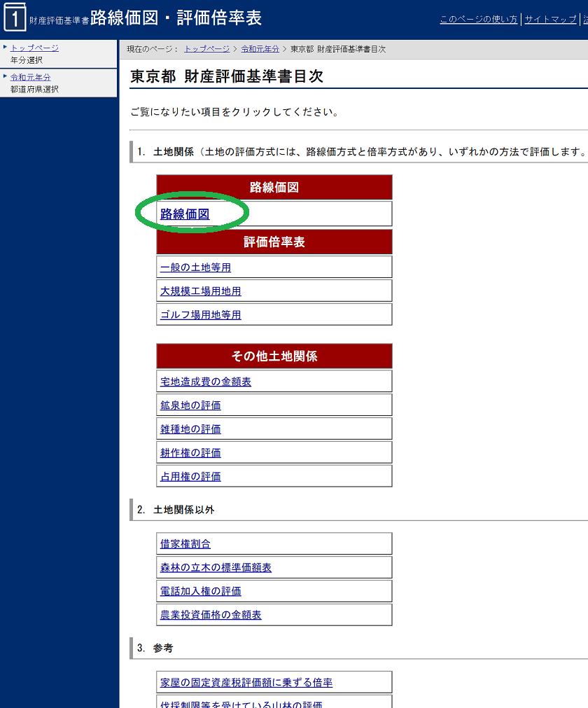 令和元年-路線価図・評価倍率表-財産評価基準書目次(東京都)