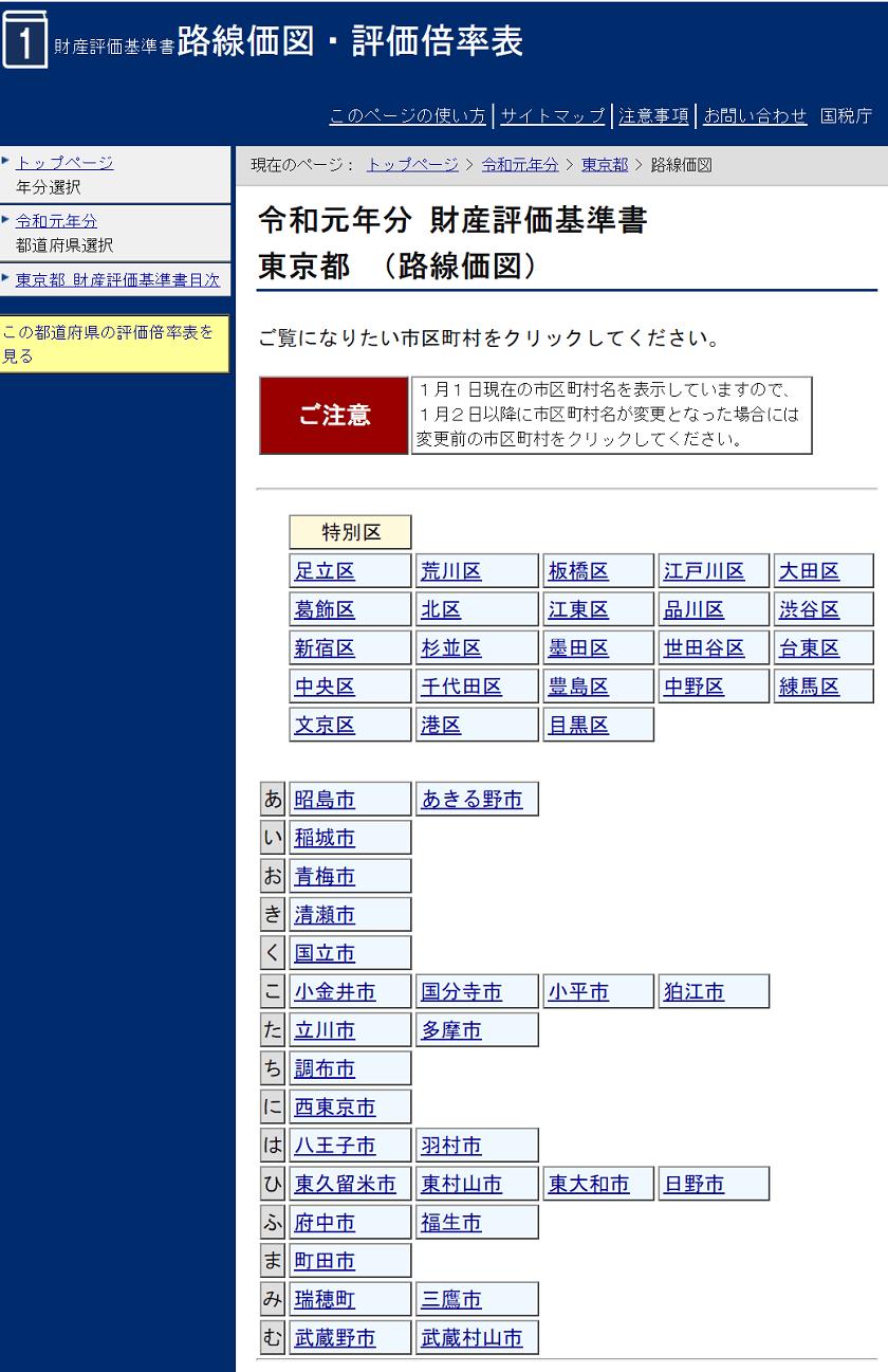 令和元年-路線価図・評価倍率表-東京都(路線価図)