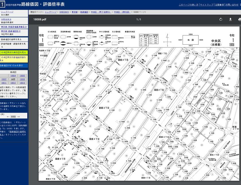 令和元年-路線価図・評価倍率表-東京都中央区-18008