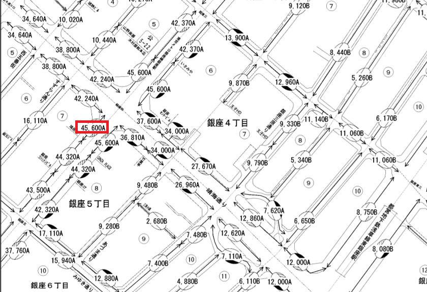 令和元年-路線価図・評価倍率表-東京都中央区-18008の一部