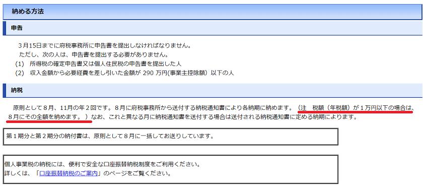 令和元年-個人事業税の納期-大阪府