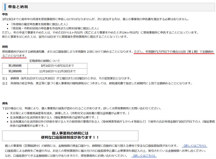 令和元年-個人事業税の納期-福岡県