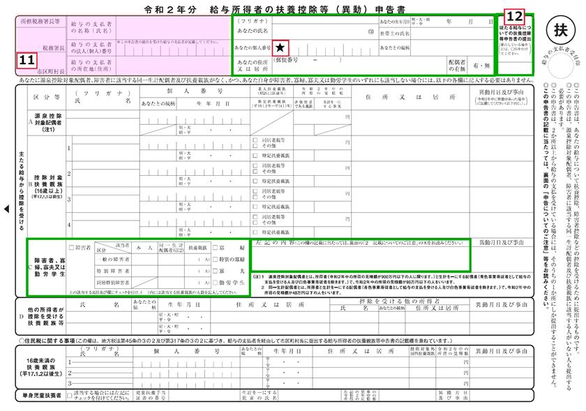 令和2年分-扶養控除等申告書の書き方-15