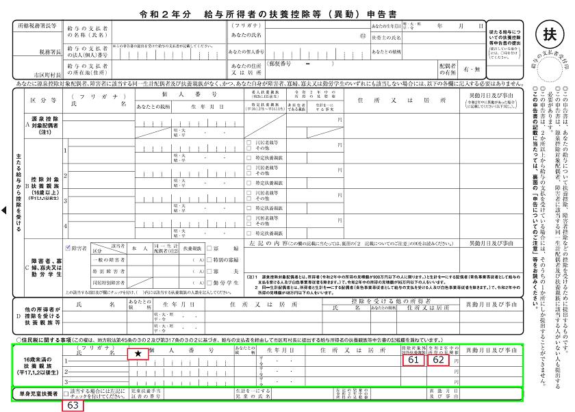 令和2年分-扶養控除等申告書の書き方-61