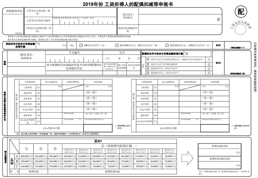 r1-2019-中国語-配偶者控除等申告書