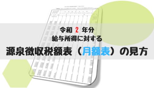 給与所得の源泉徴収税額表(月額表)の見方(令和2年分)