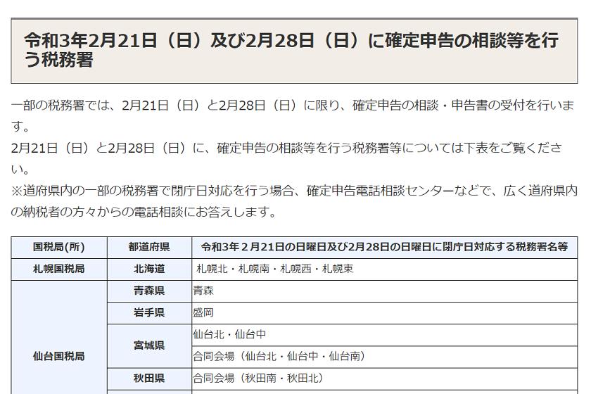 令和2年分確定申告-日曜日対応一覧の一部