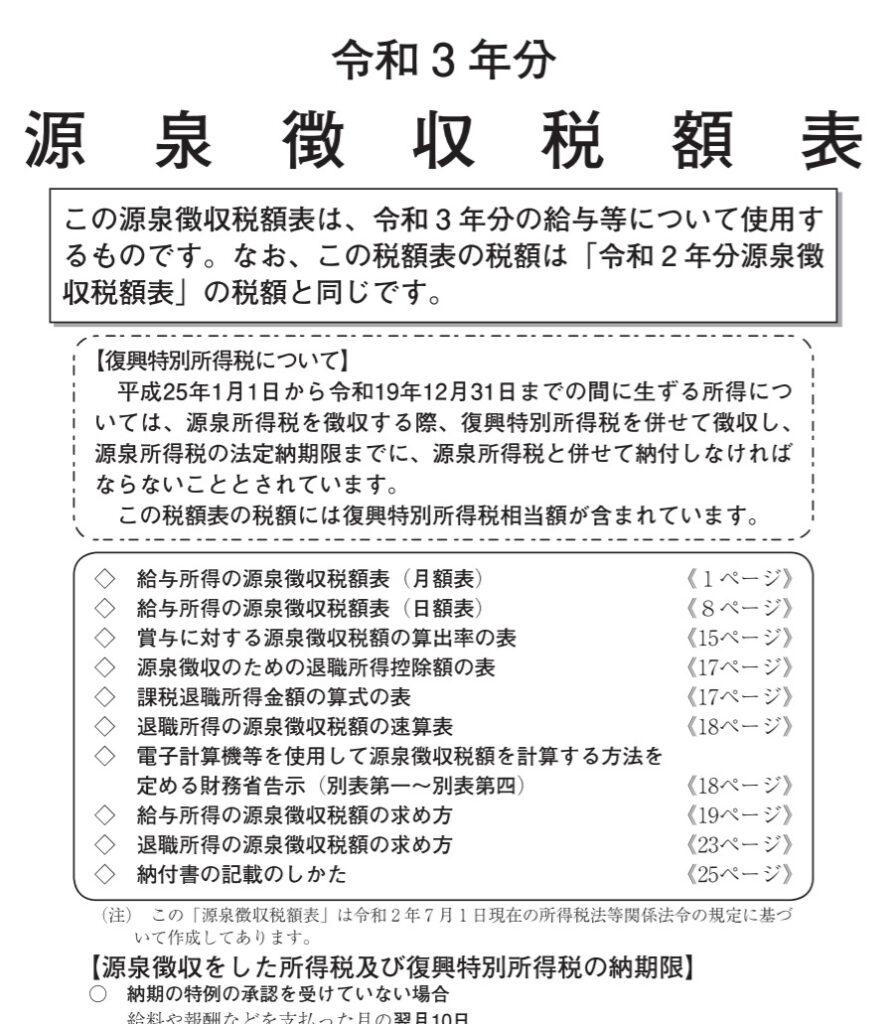 令和3年分-源泉徴収税額表の表紙の一部