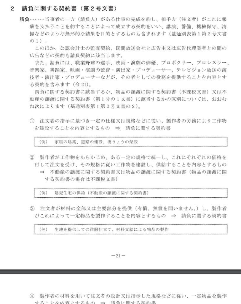 令和3年5月-印紙税の手引-請負に関する契約書(第2号文書)の一部