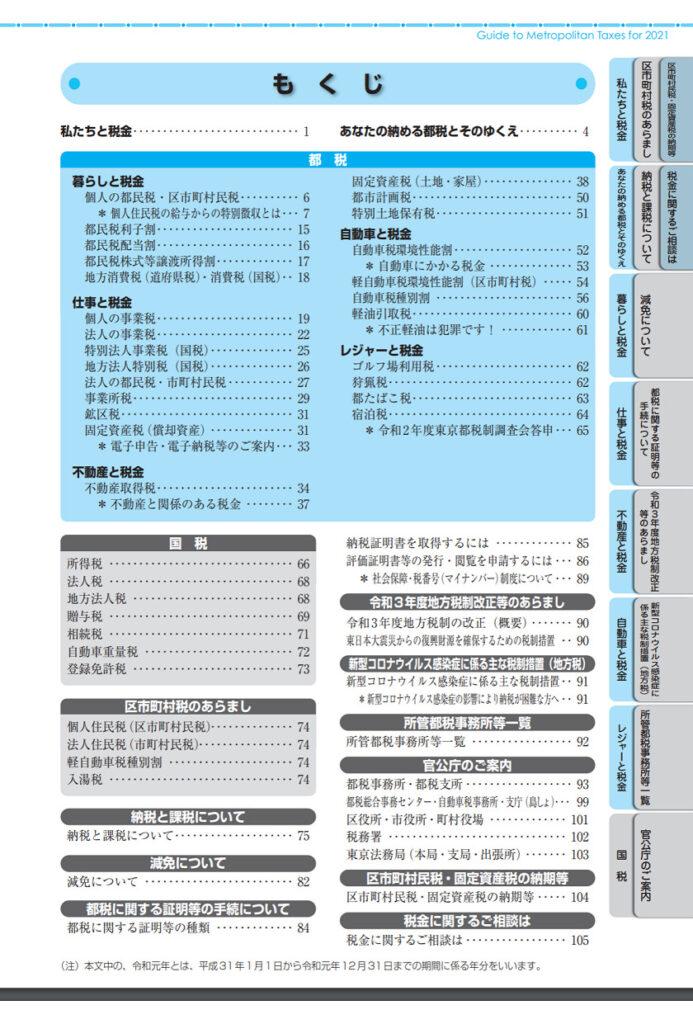 令和3年度(2021年度)-ガイドブック都税-もくじ