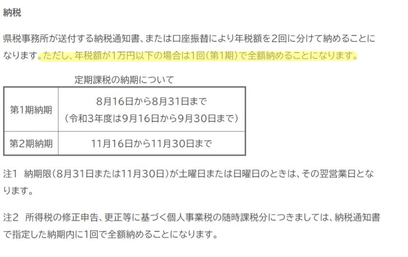 令和3年度-個人事業税-福岡県の納税について